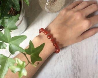 Bracelet inspiration mala, cornaline et argent 925, bien-être, spiritualité, féminité