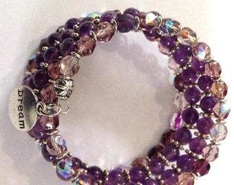 Memory wire czech bead bracelet