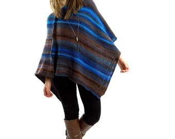 Gift-ideas | Knitted poncho | Crochet poncho for women, Wool poncho, Poncho sweater, Brown poncho, Clothing-gift, Chunky knit, Womens poncho
