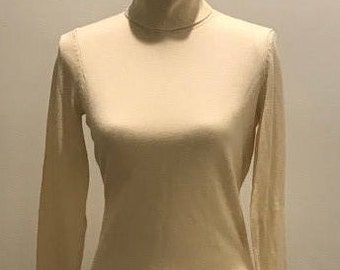 Silk and Cashmere Turtleneck Sweater Cream Women's Sz. S