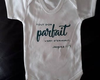 "Baby Bodysuit ""perfect"" baby shower gift Christian Bible verse"