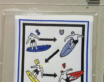 Surfboard Applique - Leave Beat The Cold! -  Vintage Sew-On Patch - Vintage Car Patch - Surf Patches