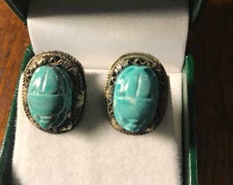 Vintage Egyptian Faience Egyptian Scarab Turqoise Sterling Clip Back Earrings