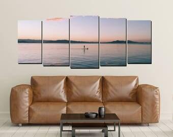 Paddle Board Canvas Wall Art, Paddleboarding Sunset Dusk Dawn Ocean Lake Still Water, Large 5 Panel Home Decor Wall, Lake Beach House Decor