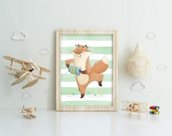 Cute fox with accordion on a watercolor background, printable poster, instant download, wall art design, clip art, for kids