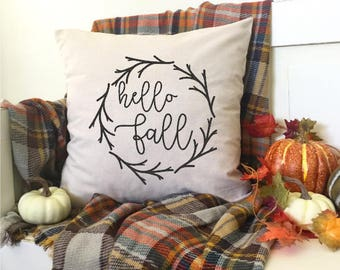 "Hello Fall Pumpkins Bonfires Leaves Hayrides Fall Decor 18x18"" Farmhouse Autumn Cottage Fixer Upper Halloween Thanksgiving"