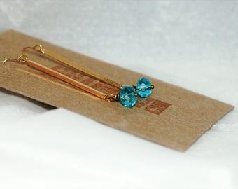 Earrings Polished Brass Faceted Drop BLue Crystal Modern Tri Corner Bar Clean Lines Under 20
