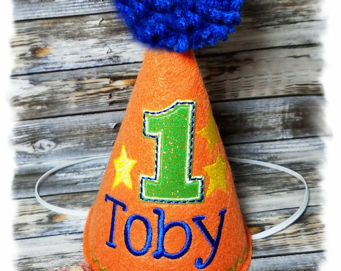Dog Birthday Hat, Dog Party Hat, Dogs First Birthday, Boy Dog Birthday, Personalized Party Hat, Gotcha Day