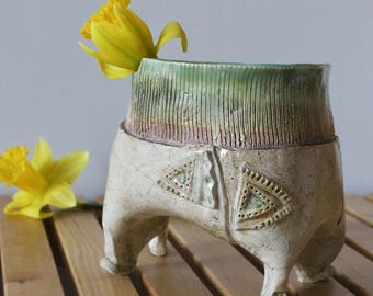 Ceramic Planter with Four Legs - Handmade Pottery Vase - Pantaloons - Hand Built Pottery - Sculptural Ceramics