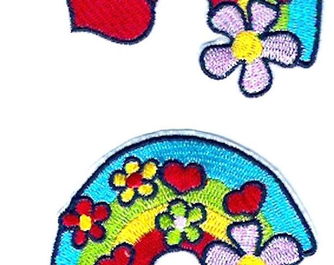 Rainbow hearts floral patch Iron on clothing badge kids childrens design Sewing Craft Supply Hippie Hipster retro style design
