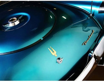 Turquoise Packard Detail Photo - Liberty Images Classic Car Photography - Vintage Car Detail Art - Silvery Chrome & Teal Packard Hawk Bumper