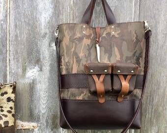 Leather Tote Bag in Camouflage Leather and Dark Brown -  Shoulder Bag  -  Vintage Ammo Pouches  - Military - Survival Bag - by Stacy Leigh