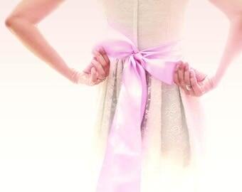 "THREE COLORS - Wide ribbon sash, Double-Sided satin sash, Flower girl sash, Bridal sash, 4"" wide, Wedding sash, Lavender, White, Sage"