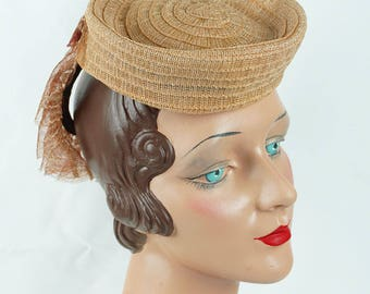 1940s Vintage Hat Butterscotch Straw Toy Tilt with Back Placement Band New York Creations