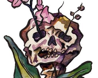 Skull and Orchid Art - Watercolor and Ink Painting of Skeleton - Skeleton Watercolor - Bones and Flowers Art Print by Jen Tracy - Halloween