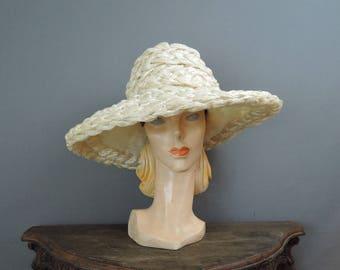 Vintage Hat Huge White Straw Raffia Wide Brim, Bullock's Wilshire Custom Millinery, 21 inch head