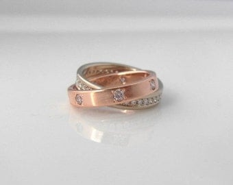 Diamond Eternity Ring, Puzzle Ring, Mixed Metals Wedding Bands Handmade with Recycled Gold & Upcycled Diamonds