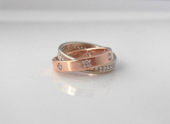 Diamond Eternity Ring Puzzle Ring Mixed Metals Wedding Bands