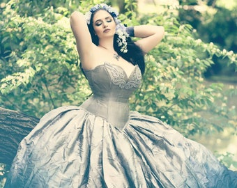 "Silver Ombre Wedding Dress - Fairy Gown - Steampunk Fairytale - Gothic Renaissance Halloween ""Adelaide Gown"" -Custom to your size"