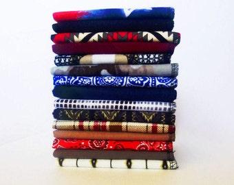 Handkerchief Mens EDC Hanks Fathers Day Gift for Men 100% Cotton Flannel Hankerchief Set Reusable Hankies Eco Kleenex - Empire Road - Biker
