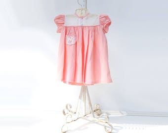 Vintage Baby Dress 1960s Baby Dress 60s Toddler Dress Coral Pink Dress Baby Party Dress 18 months 24 months Pink Baby Dress 1.5 / 2 yrs