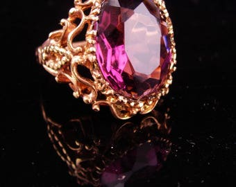 HUGE Vintage Ring / Amethyst gothic costume ring / Dramatic  rose gold plate setting / February Birthstone / size 8  / Aquarius horoscope