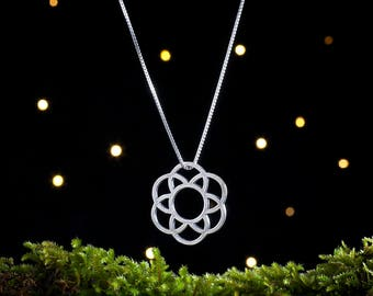 Sterling Silver Mod Flower, Sacred Geometry - Double Sided - (Pendant or Necklace)