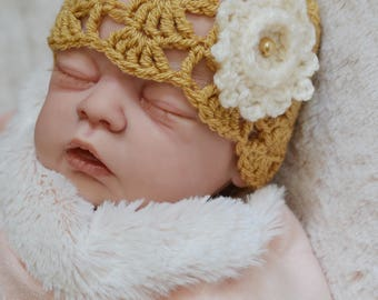 Baby Girl Newborn crochet Lacey Shell Summer Hat Flower Beanie Hat Photo Prop Hat