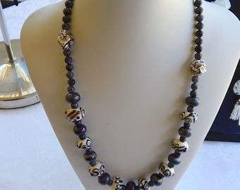 Hand crafted lamp work glass bead necklace