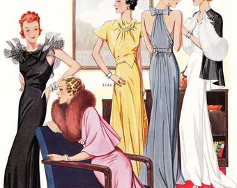 """NEW! PDF of 30s haute couture vintage sewing pattern catalog - instant download - """"Star"""" Winter 1936"""