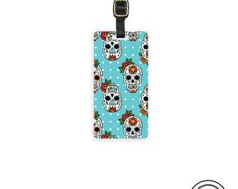 Luggage Tag Sugar Skull Polka Dots - Single Metal Luggage Tag, strap included Custom Printed Info