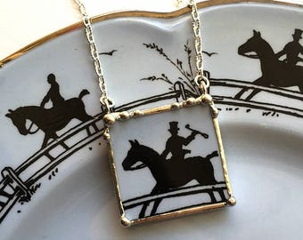 Broken china jewelry - china necklace pendant - equestrian - horse lover - made from an antique broken china plate, recycled china