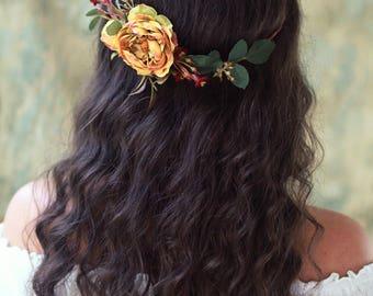 Fall wedding headpiece, simple floral crown, burgundy flower crown, rustic flower headpiece, fall circlet, woodland bridal halo, hair wreath