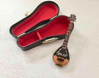 "Miniature Mandolin with Case, 3.25"" Mini Mandolin, Crafts, Display, Shelf Sitter, Topper, Mini Instrument"