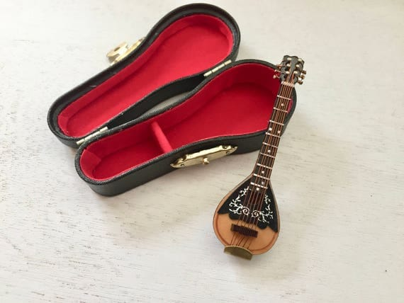 "Miniature Mandolin with Case, 3.25"" Mini Mandolin, Crafts, Display, Shelf Sitter, Topper, Mini Instrument"