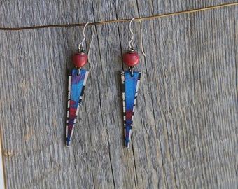 PURPLE RAIN / Wood Earrings / Women's Jewelry / Gifts For Her / Sustainable / Earrings / Acrylic Painting / Art / Art Jewelry