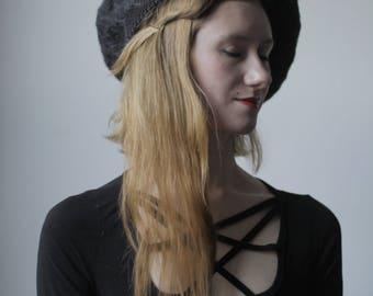 HANDMADE BERET - felt beret / felted hat / french beret / formal hat / handmade hat / black hat / needle felted hat / milliner / simple hat