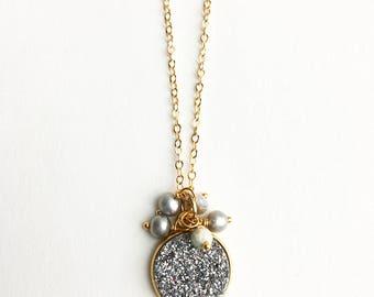 Druzy Necklace, Silver Druzy, Gray Necklace, Gemstone Jewelry, Gift for Her