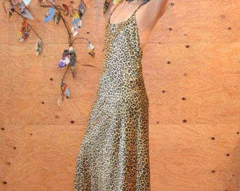 vintage 90's silky soft leopard print maxi slip dress o/s lingerie victoria's secret