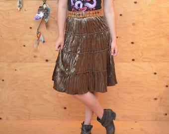 Vintage 90's Olive Green Grunge Revival Velvet Sequin Skirt SZ M