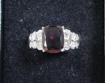 Vintage 3.25 CT Radiant Cut Ruby and Diamond 925 Sterling Silver Ring Size 7