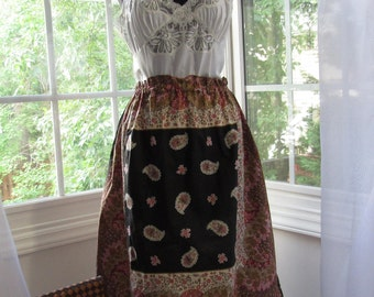 MILESTONE SALE 40% OFF With Coupon, Paisley Black, Pinks, Reds, Browns, and Gold Double Scarf Skirt