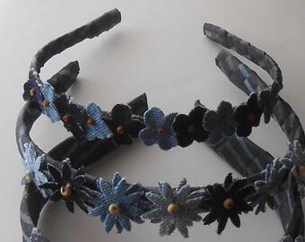 Blue Daisy Headbands, Blue Denim Headband, Rustic Girl Headband, Flower Headpiece, Blue Denim Flowers Girls Headbands, Blue Floral Headband