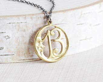 Raw Brass Lucky 13 Round Moon Pendant Necklace on Gunmetal Chain
