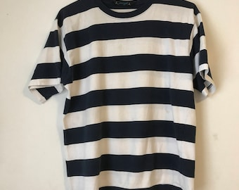 90's Nautical Striped Tee M