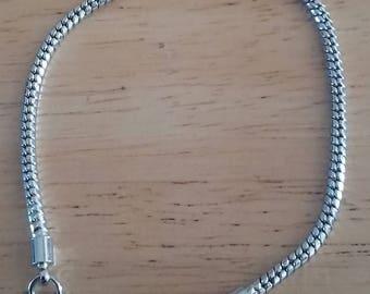 DESTASH - Pewter Snake Chain Bracelet, 7 1/2 Inches Long