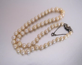 1930s Art Deco Genuine Cultured Pearl Necklace. Salt Water Japanese Pearls. Sterling Clasp, Safety Chain. Bridal Wedding Necklace Jewelry