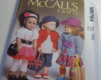 """Laura Ashley Doll Clothes Pattern, McCall's M6764, outfits 18""""  Doll, uncut"""