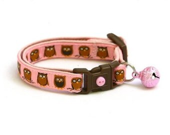 Owl Cat Collar - Little Brown Owls on Light Pink - Small Cat / Kitten Size or Large Size