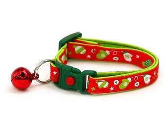 Winter Cat Collar - Green Mittens on Red - Small Cat / Kitten or Large(standard) Size Collar